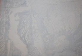 2 Der erwachende Dämon geht in den Hintergrund - 80 x 60 cm (c) Leinwand von Susanne Haun