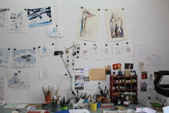 Salope Hängung Zeichnungen Susanne Haun im Atelier (c) Foto von Susanne Haun