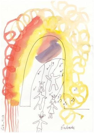 # 1-1 Dante Alighieri Entrada - 20 x 30 cm - Tusche und Aqaurell auf Skizzenpapier (c) Zeichnung von Susanne Haun