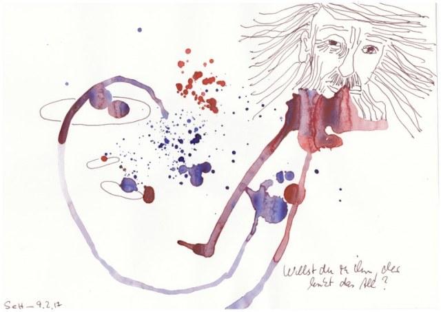 # 1-3 Dante Alighieri Willst du zu ihm, der lenkt das All - 20 x 30 cm - Tusche und Aqaurell auf Skizzenpapier (c) Zeichnung von Susanne Haun
