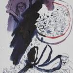 1 Der Gesang vor der Ankunft der Höllenstadt - 32 x 24 cm - Tusche unf Aquarellkarton (c) Zeichnung von Susanne Haun