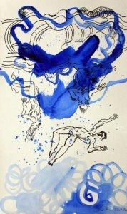 1 Ihr schmachvoll Fortgejagten aus dem Himmel - 51 x 32 cm - Tusche und Aquarell auf Kuperdruckpapier (c) Zeichnung von  Susanne Haun