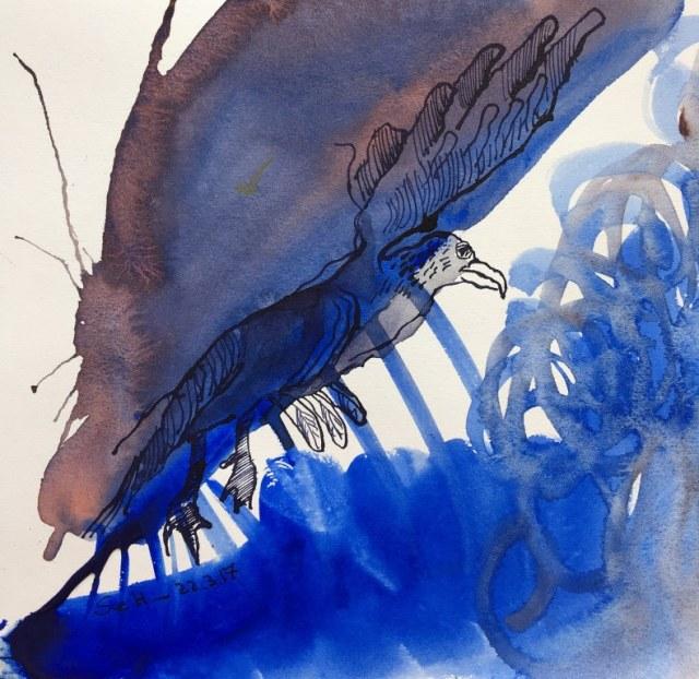 Dante - Aufflug zu den Sternen - 20 x 20 cm - Tusche und Aquarell auf Bütten (c) Zeichnung von Susanne Haun