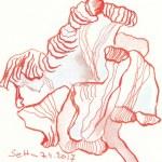 Rote verblühte Tulpe - 10 x 10 cm - Tusche auf Aquarellkarton (c) Zeichnung von Susanne Haun