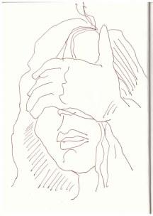 Selbst im Dunkeln nach Foto (c) Zeichnung von Susanne Haun