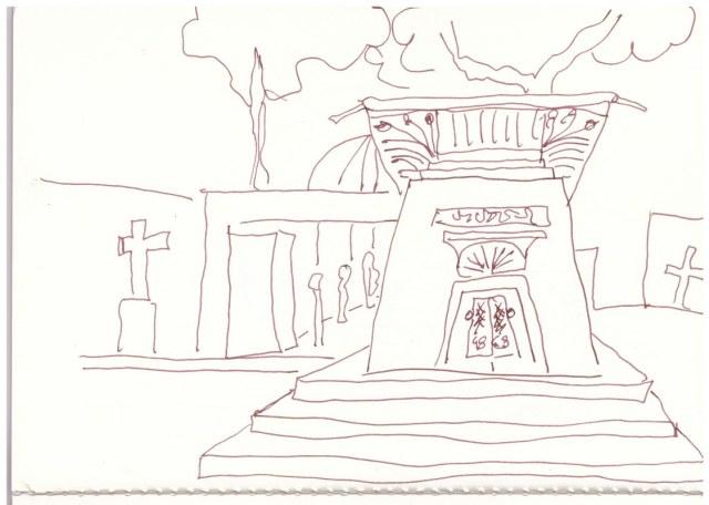 Friedhof in der Bergmannstr. Berlin Kreuzberg (c) Zeichnung von Susanne Haun
