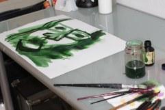 Bei der Arbeit - Entstehung Selbstportrait (c) Foto von Susanne Haun