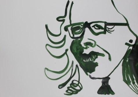 Selbstportrait für Heike - 60 x 40 cm – Tusche auf Skizzenpapier (c) Zeichnung von Susanne Haun