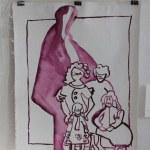 Vier Generationen - verso - 80 x 60 cm Tusche auf Leinwand (c) Zeichnung von Susanne Haun