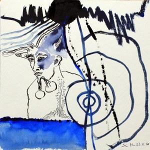 Der Pechsee des Teufels - 25 x 25 cm - Tusche und Aquarell auf Karton (c) Zeichnung von Susanne Haun
