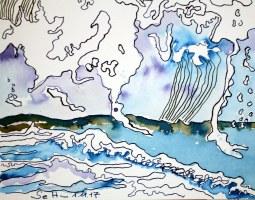 Ausschnitt - Die Bedrohung durch das Meer -Tusche auf Aquarellkarton - 50 x 20 cm (c) Zeichnung von Susanne Haun