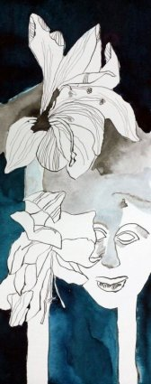 Hoplit mit Amaryllis - 50 x 20 cm - Tusche auf Hahnemühle Aquarellkarton (c) Zeichnung von Susanne Haun
