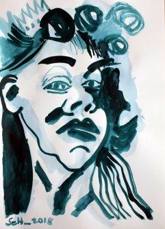 Selbst zur Übermalung freigegeben - 58 x 41 - Tusche auf Zeichenpapier (c) Zeichnung von Susanne Haun