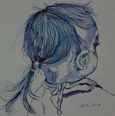 Kleines Mädchen in blau mit Tuch - Version 2 - 25 x 25 cm - Tusche auf Aquarellkarton (c) Zeichnung von Susanne Haun