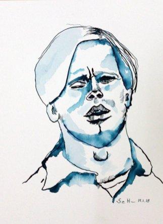 Mein Sinnbild von Herbert Grönemeyer - 32 x 24 cm - Tusche auf Aquarellkarton - 2018 (c) Zeichnung von Susanne Haun