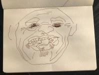 Bushman eats lizzard (c) Zeichnung von Susanne Haun