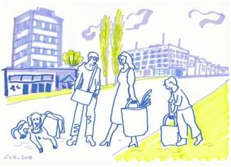 Rathausplatz mit Familie und Taschen - Version 1 (c) Zeichnung von Susanne Haun
