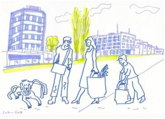 Rathausplatz mit Familie und Taschen - Version 2 (c) Zeichnung von Susanne Haun