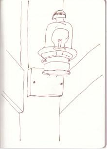 Lampe in Papas Garten (c) Zeichnung von Susanne Haun