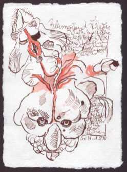 Der Löwe denkt blutrot - 15 x 20 cm - Silberburg Büttenpapier - Zeichnung von Susanne Haun (c) VG Bild Kunst, Bonn 2018