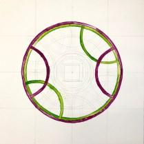 Entstehung des Diagramms Mundus Annus Homo, 40 x 40 cm, Tusche auf Aquarellkarton, 2019, Zeichnung von Susanne Haun (c) VG Bild-Kunst, Bonn 2019