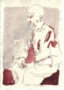 Auf sieben Bogen, Willibrod, Tusche auf Silberburg Büttenpapier, 2007 15 x 20 cm (c) Zeichnung von Susanne Haun