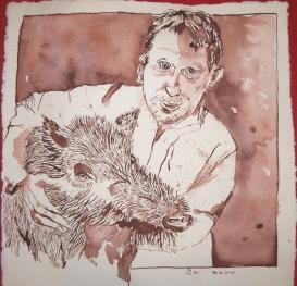 Wildschwein mit Willibrod, 30 x 30 cm, Tusche auf Bütten, Zeichnung von Susanne Haun (c) VG Bild-Kunst, Bonn 2019