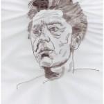 Entstehung der Collage Karajan, 30 x 40 cm, 2019, Zeichnung Auf Layoutpapier von Susanne Haun (c) VG Bild-Kunst, Bonn 2019.