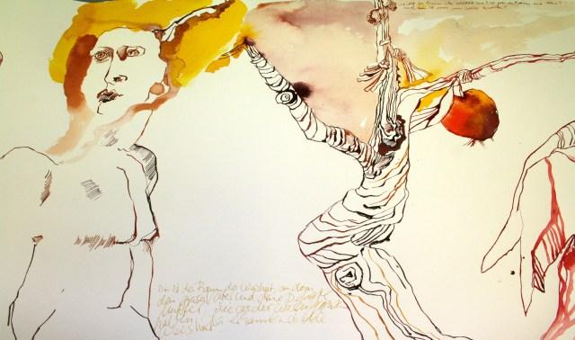 Der Baum der Weisheit, Ausschnitt aus der Rolle des Buchs Henoch, Zeichnung von Susanne Haun (c) VG Bild Kunst, Bonn 2019