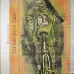 Der schnellste von Allen, Version 2, Radfahrer, Linolschnitt von Susanne Haun (c) VG Bild-Kunst, Bonn 2019