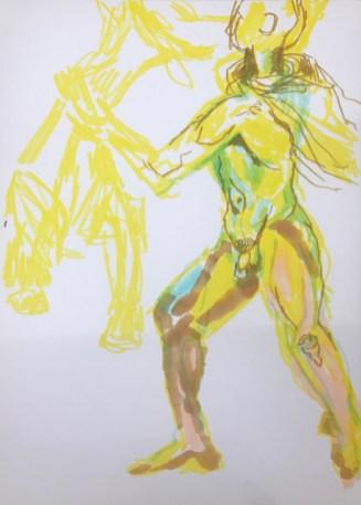 Studie zum Farnesische Stier in der Abgusssammlung Berlin, Version 3, Zeichnung von Susanne Haun, Bleistift und Marker (c) VG Bild-Kunst, Bonn 2019