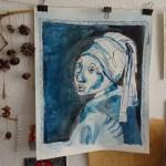 Mein Mädchen mit dem Perlenohring, Tusche und Acryl auf Aquarellkarton, 44,5 x 39 cm, Zeichnung von Susanne Haun (c) VG Bild-Kunst, Bonn 2019