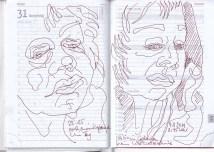 Selbstbildnisstagebuch 17.10. – 10.11.2019, Zeichnung von Susanne Haun (c) VG Bild-Kunst, Bonn 2019
