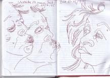 Selbstbildnisstagebuch 2019 - Seiten für Notizen, Zeichnung von Susanne Haun (c) VG Bild-Kunst, Bonn 2019