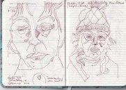 Selbstbildnisstagebuch 01.01.2020 - 07.02.2020, Zeichnung von Susanne Haun (c) VG Bild-Kunst, Bonn 2020