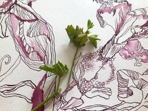 Entstehung Die Traumdeuterin und Seherin, 65 x 55 cm, Tusche auf Aquarellkarton, Zeichnung von Susanne Haun (c) VG Bild-Kunst, Bonn 2020