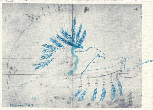 Blatt 45 - Zyklus Otto Lilienthal - Zeichnung von Susanne Haun - 30 x 20 cm - Tusche auf Silberburg Bütten (c) VG Bild-Kunst, Bonn 2020