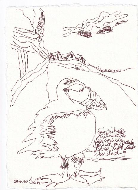 Tagebucheintrag 27.6.2020, Virtuell nach Island reisen - ohne Farbe, 20 x 15 cm, Tinte und Buntstift auf Silberburg Büttenpapier, Zeichnung von Susanne Haun (c) VG Bild-Kunst, Bonn 2020