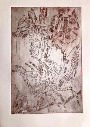 Krebsfrauen im Meeresdickicht auf Drachen mit vielen Flügeln - Radierung (Strichätzung) von Susanne Haun (c) VG Bild-Kunst, Bonn 2020