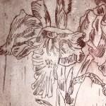 Ausschnitt Krebsfrauen im Meeresdickicht auf Drachen mit vielen Flügeln - Radierung (Strichätzung) von Susanne Haun (c) VG Bild-Kunst, Bonn 2020