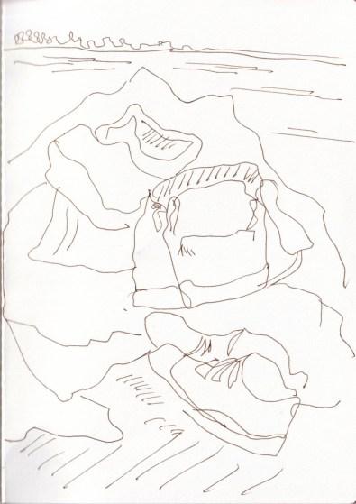 Unterwegs Skizzieren, Kiel Wiek, Zeichnung von Susanne Haun (c) VG Bild-Kunst, Bonn 2020