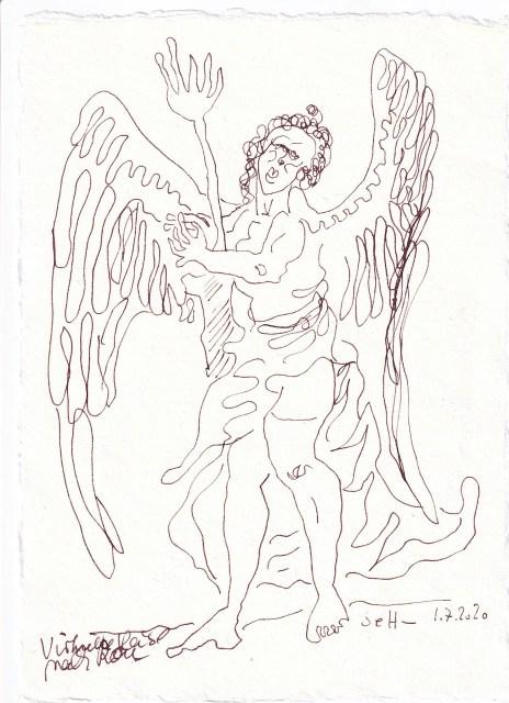 Tagebucheintrag 1.7.2020, Im Schneckentempo, 20 x 15 cm, Tinte und Buntstift auf Silberburg Büttenpapier, Zeichnung von Susanne Haun (c) VG Bild-Kunst, Bonn 2020