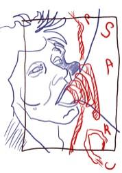 Entwurf 1 - Entfesselte Sprache, 31 x 23 cm, Tusche auf Aquarellkarton, 2020 (c) Zeichnung von Susanne Haun