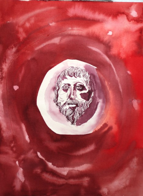 Heraklit, 3. Version, 56 x 42 cm, Tusche auf Aquarellkarton (c) Zeichnung von Susanne Haun