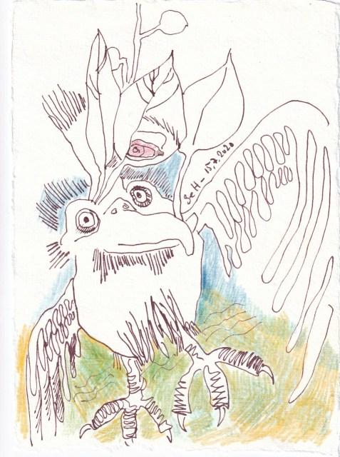 Tagebucheintrag 15.7.2020, Yippieh, 20 x 15 cm, Tinte und Buntstift auf Silberburg Büttenpapier, Zeichnung von Susanne Haun (c) VG Bild-Kunst, Bonn 2020