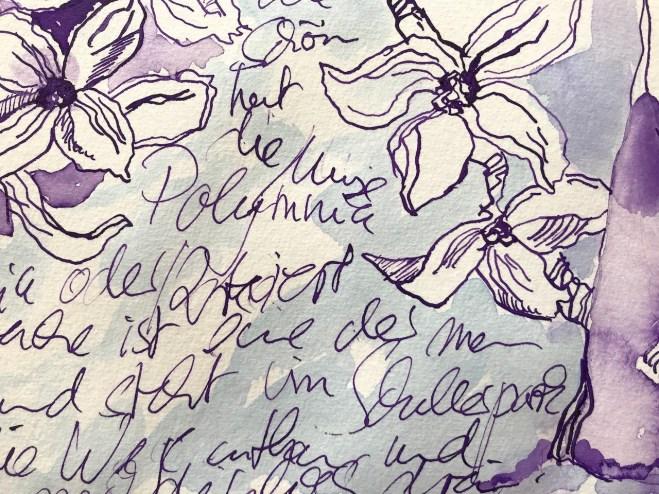 Ausschnitt - Muse Polyharmonia, Tusche auf Aquarellkarton, 30 x 40 cm, Zeichnung von Susanne Haun (c) VG Bild-Kunst, Bonn 2020