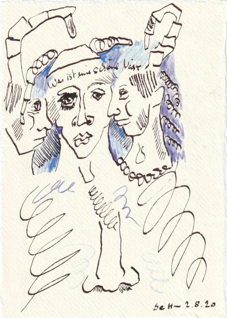 Tagebucheintrag 02.08..2020, Was ist eine schöne Nase, 20 x 15 cm, Tinte und Buntstift auf Silberburg Büttenpapier, Zeichnung von Susanne Haun (c) VG Bild-Kunst, Bonn 2020
