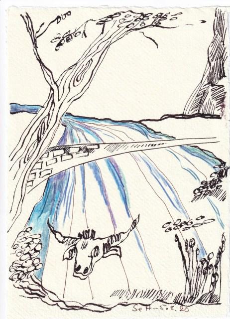 Tagebucheintrag 05.08.2020, Die Brücke zum Nirgendwo, 20 x 15 cm, Tinte und Buntstift auf Silberburg Büttenpapier, Zeichnung von Susanne Haun (c) VG Bild-Kunst, Bonn 2020
