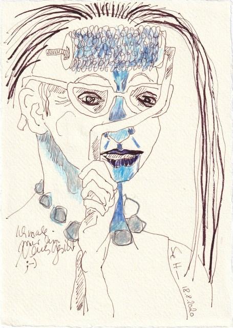 Tagebucheintrag 18.08.2020, Ich male mir ein neues Gesicht, 20 x 15 cm, Tinte und Buntstift auf Silberburg Büttenpapier, Zeichnung von Susanne Haun (c) VG Bild-Kunst, Bonn 2020
