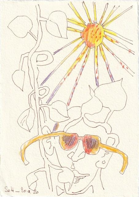Tagebucheintrag 20.08.2020, Here comes the sun, 20 x 15 cm, Tinte und Buntstift auf Silberburg Büttenpapier, Zeichnung von Susanne Haun (c) VG Bild-Kunst, Bonn 2020